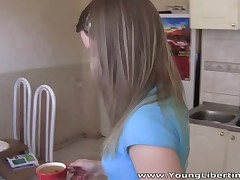 For this cute and utterly amoral teeny having a cup of tea with her boyfriend is just a prelude and previous to it even cools down this babe ends up on her knees engulfing dick like a good slut. This kitten is hungry for a unfathomable hard fuck and when the guy puts her on her fours and nails her from behind right in a kitchen that babe just moans of pleasure and implores him to fuck her more.