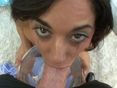 Slutty Gia Iron takes penis unfathomable in her mouth and gags hard